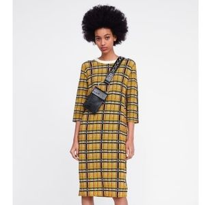 Brand new Zara midi sweater plaid dress